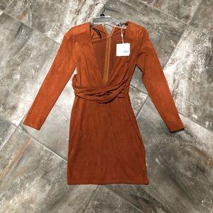 Plunge, faux suede, tan dress